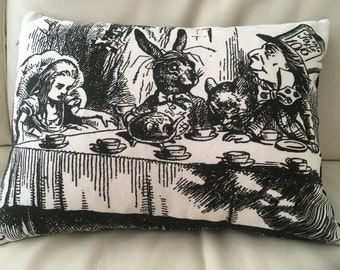 Alice in Wonderland mad hatters tea party cushion, Alice in wonderland cushion, Lumbar pillow,