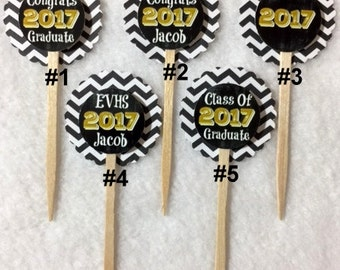 Set Of 12 Personalized  Graduation 2017 Cupcake Toppers (Your Choice Of Any 12)