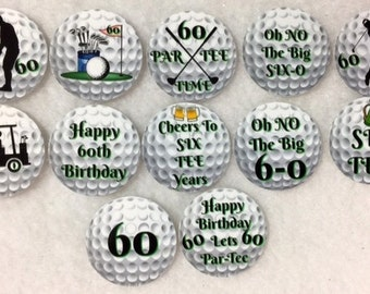 Set of 50/100/150/200 Personalized Golf 60th Birthday Party  1 Inch Confetti Circles