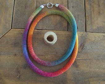 LIESKE, beautiful cord ornament in rainbow colors, you can wear it in different ways.