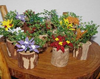 Set of 4 wooden vase flower arrangements