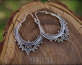 Silver earrings. Tribal jewelry. Gypsy. Ehnic style