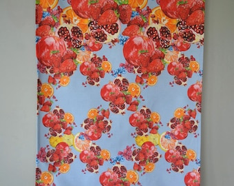 Digitally Printed Strawberries and Pomegranate Tea Towels