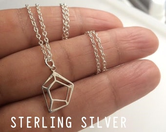Silver Geometric Necklace, Geometric Necklace, Sterling Silver Necklace, Birthday Gift
