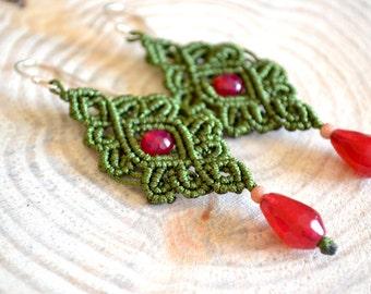 Green earrings - Dangle earrings - Micro Macrame Earrings - Agate earrings - Gemstone earrings - Micro macrame earrings - Boho chic earrings