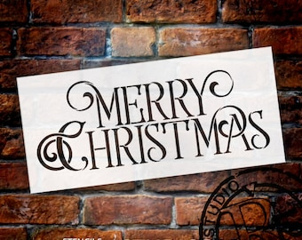 Merry Christmas - Elegant Vintage Serif - Word Stencil - Select Size - STCL1537 - by StudioR12