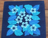 "50% OFF So cute 60s vintage little Tablecloth in dark blue and turquoise. Lovely floral pattern. Designed by Ulla ""ULLAS"" Scheuer, Sweden."
