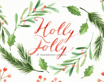 Holly Jolly Watercolor Christmas Clipart, Holiday Winter Set, Christmas Card, Santa Claus, New Year clipart, decorations, Greeting card