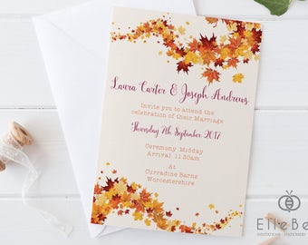 Autumn Wedding Invitation // Autumn Wedding Invites // Autumnal Wedding // Burnt Oak Collection // Elle Bee Design