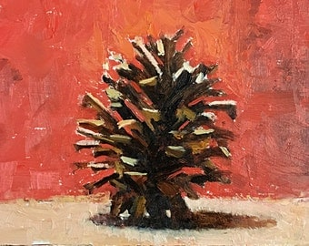 Pine Cone on Red