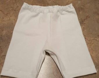 White Baby Girls Summer Shorts, leggings shorts long above the knee shorts