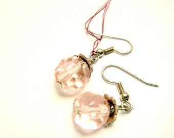 Pink Earrings, Clear Pink Dangle drop earrings