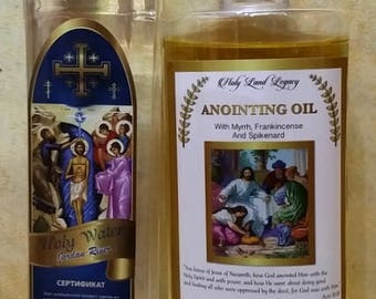 Anointing oil from Jerusalem Frankincense,Myrrh,pure Gallile oil 250 ml bottle,and holy water from Jordan river Baptism site 250 ml