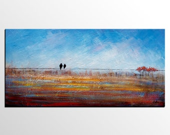 Canvas Painting, Oil Painting, Framed Art, Modern Art, Abstract Art, Love Birds Painting, Canvas Painting, Bedroom Art, Abstract Painting