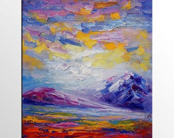 Abstract Mountain Landscape Painting, Abstract Painting, Canvas Oil Painting, Wall Art, Abstract Art, Modern Art, Canvas Painting, Large Art