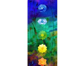 7 Chakras art, wall hanging decor, Chakras art, wood trim studio