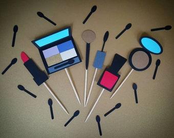 Makeup, Makeup Cupcake Toppers, Cupcake Toppers, Lipstick Cupcake Toppers, Bachelorette Cupcake Toppers, Makeup Party, Mascara, Nail Polish