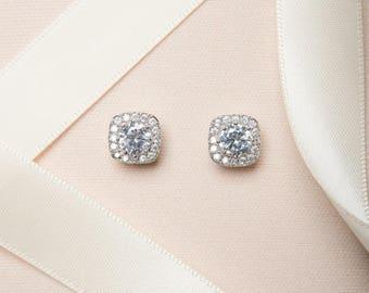 Stud Earrings, Studs, Simple Earrings, Cubic Zirconia Earrings, Luxury Earrings