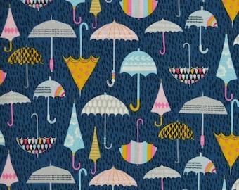 Dashwood Studio Rain Or Shine Umbrella Fabric Cotton Fabric Quilting Fabric Blue Fabric Cotton Fabric By The Metre