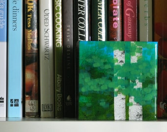"""4""""x4"""" Mixed Media Painting of Birch Trees"""