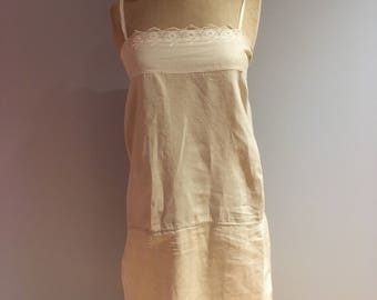 French Tunic Dress linen and cotton 1920's