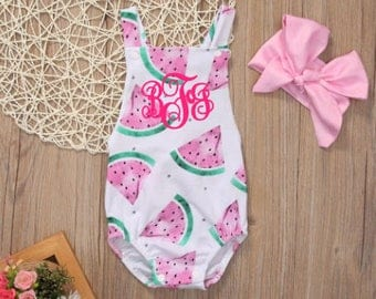 monogrammed watermelon baby girl romper - watermelon summer romper - personalized bodysuit- Fourth of July outfit - 4th of july