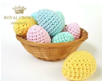 Crochet Easter Eggs,Pastel Easter Eggs,Easter Eggs,Easter Egg Decor,Stuffed Easter Eggs,Spring Decoration,Pastel,Yellow Pink Mint Blue