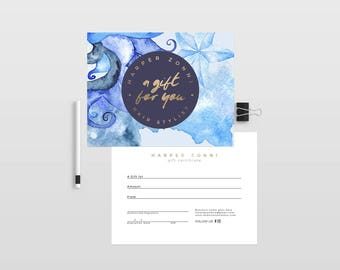 Harper double sided gift certificate template - Instant download