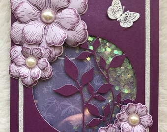 Handmade Blank Shaker Card with Purple 3D Flowers and Silver Trims
