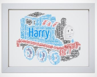 Personalised Thomas Train Framed Print Word Art Cloud Picture Gift