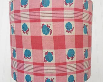 HANDMADE VINTAGE Feedsack Drum LAMPSHADE Lamp Shade in Pink Blue and Off White Light Seedsack Upcycled Lighting Green Decor