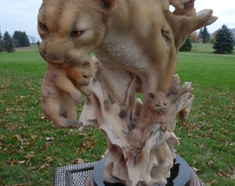 """Mill Creek Studios - Randall Reading """"JOURNEY HOME"""" #7024 - Cougar & Cubs Large Sculpture Figure - Limited Edition"""