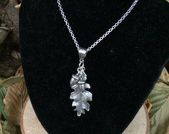 Large Silver Oak Leaf & Double Acorn Necklace