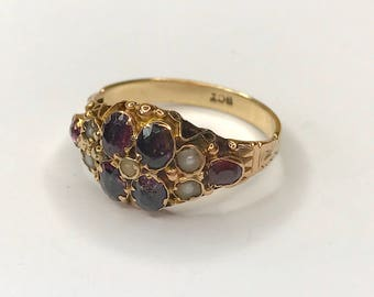 Antique Mid-Victorian Garnet and Seed Pearl Ring in 9ct Gold