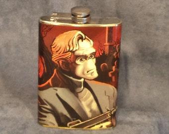 SALE 12.99 (was 19.99) Frankenstein's Mobster - 8 oz stainless steel flask