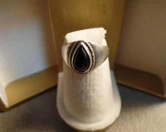 Sterling Silver and Black Onyx Ring size 5 marked 925