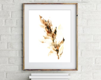 Minimalist Abstract Leaves Print, art print, watercolor painting print, amber painting, wall art