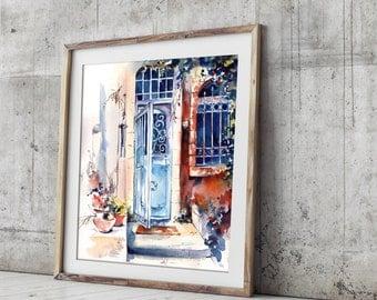 Blue Door - Art Print, Watercolor Print, Jerusalem Cityscape Painting, Architecture Sketch Wall Art