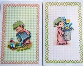 Vintage Playing Cards - Garden Elf Elves - 2 Sealed Packs and Score Pad - Hallmark