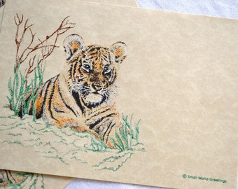 Vintage Stationery - Tiger in the Grass - 8 Parchment Note Cards and Envelopes