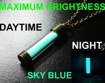 SKY BLUE Glow In Dark The Necklace / Pendant, Pure Strontium Aluminate!! GITD Jewellery