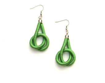 Green Earrings, Cotton Earrings, Textile Earrings, Knot Earrings, Modern Earrings, Fabric Earrings, Unique Jewelry, Knotted Earrings