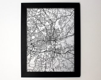 Winston Salem North Carolina Laser Cut Map, Winston Salem NC Street Map, Winston Salem Framed Map, Winston Salem Gift, Winston Salem Print