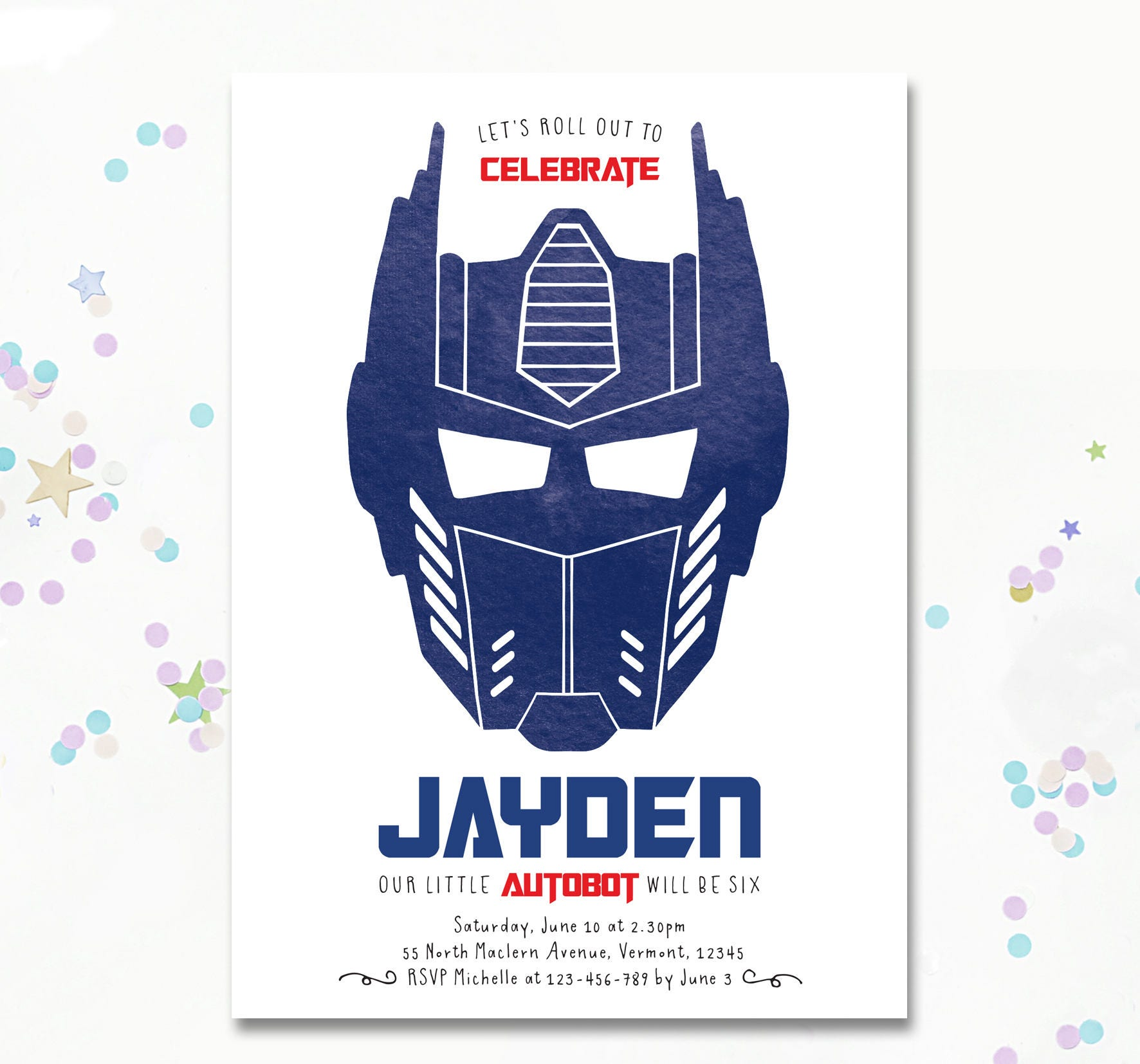 Optimus Prime Invitation, Transformer birthday Invite, Transformer ...