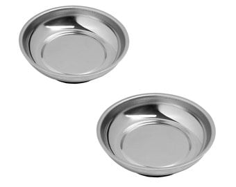 4.25 Inch Round Magnetic Parts Tray, Heavy-Gauge Polished Stainless Steel with Non-Toxic Lead-Free Rubber Base (2 Pack)