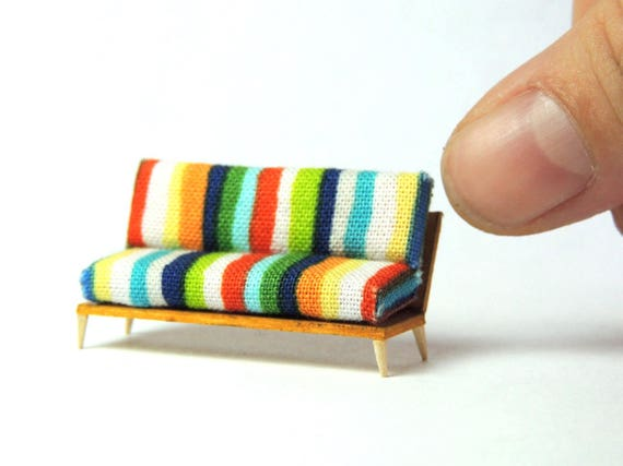 Quarter Scale Miniature Sofa Couch 1/4 1:48 Mid Century Modern Dollhouse Diorama
