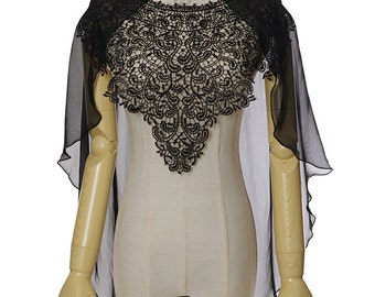 Vintage Silk Top Poncho Pullover Black Cape & Natural Handmade Pearls Chain