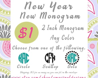 Monogram Flash Sale , Personalized Monogram Decal, Vinyl Decal, Dollar Monogram Decal Sale, Yeti Rambler, Yeti Decal, 2 inch decal