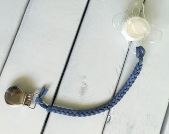 Basic Blue Leather Braided Binky Clip - (modern pacifier clip, boy, gender neutral, faux suede, simple, natural, pastel)