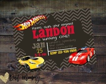 Print or Digital   Hot Wheels Invitation   Birthday Party   Thank You   Customizable